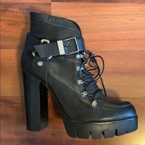ZARA Lace Up Heeled Platform Boot